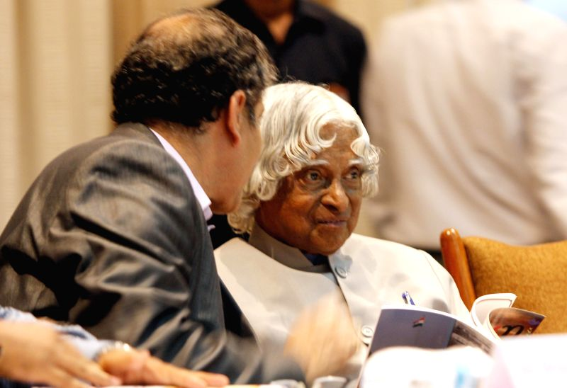 Former President of India A.P.J. Abdul Kalam and Director of National Chemical Laboratory Dr. Saurabh Pal during release of `Dhwani` - a magazine at a research scholars' meet in Pune on July 4, 2014.