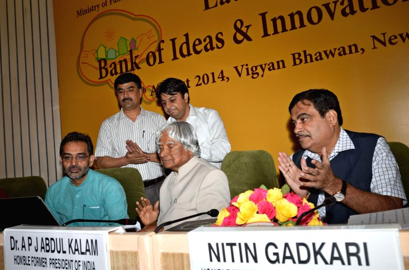 Former President of India A.P.J. Abdul Kalam with Union Minister for Shipping, and Road Transport and Highways Nitin Gadkari and Minister of State for Rural Development, Panchayati Raj, Drinking ...