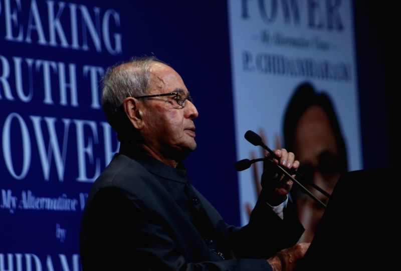 "Former President Pranab Mukherjee addresses after releasing a book titled ""Speaking Truth to Power"" authored by P Chidambaram in New Delhi on Jan 30, 2018. - Pranab Mukherjee"