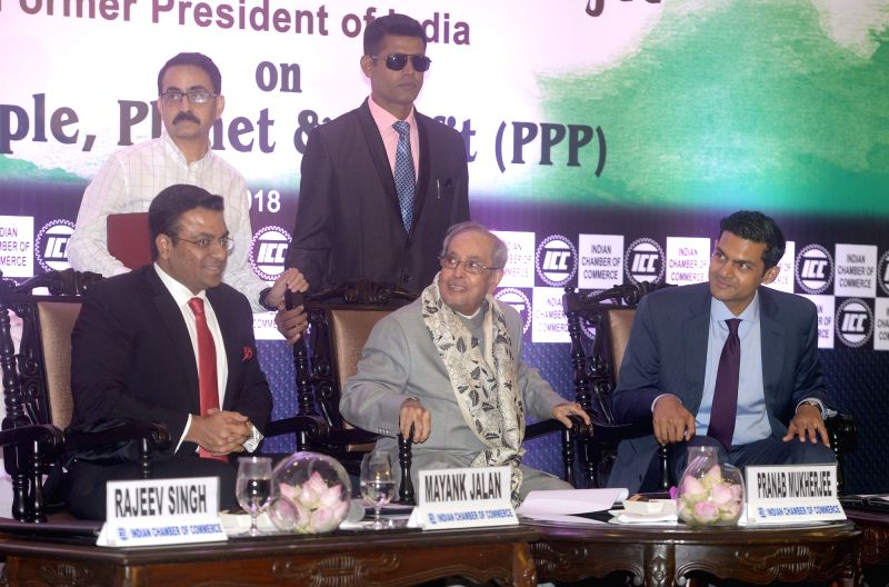 Former President Pranab Mukherjee during a special session on 'People, Planet & Profit' (PPP) organised by Indian Chamber of Commerce in Kolkata on July 26, 2018. - Pranab Mukherjee