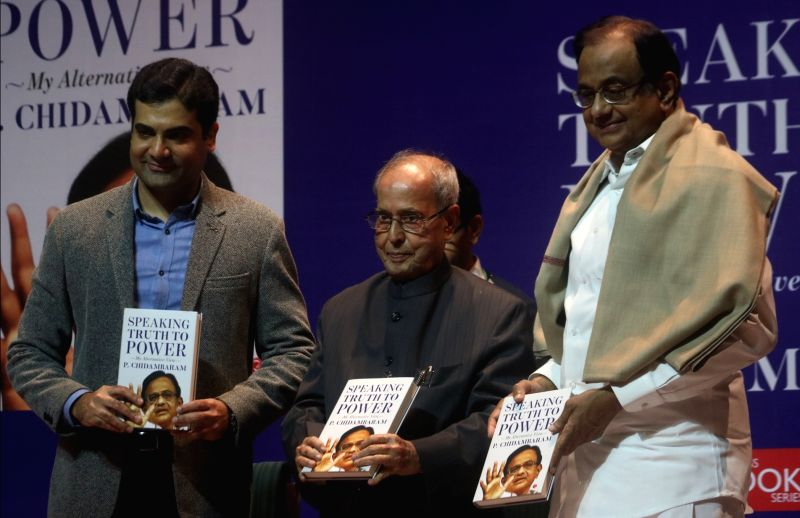 "Former President Pranab Mukherjee releases of a book titled ""Speaking Truth to Power"" authored by P Chidambaram in New Delhi on Jan 30, 2018. - Pranab Mukherjee"