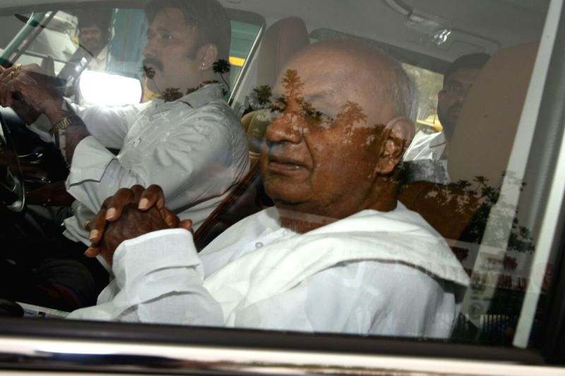 Former Prime Minister H.D. Deve Gowda arrives at AIIMS to visit former Prime Minister Atal Bihari Vajpayee who is undergoing treatment for urinary tract infection at the hospital in New ... - H. and Atal Bihari Vajpayee