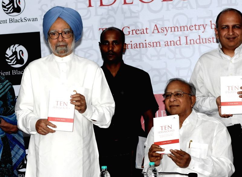 "Former Prime Minister Manmohan Singh along with senior Congress leader S Jaipal Reddy during launch of his book ""Ten Ideologies: The Great Asymmetry between Agrarianism and ... - Manmohan Singh and S Jaipal Reddy"