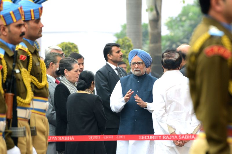 Former Prime Minister Manmohan Singh, Congress president Sonia Gandhi, External Affairs Minister Sushma Swaraj and others arriving to pay homage to Parliament attack martyrs on its 13th anniversary .. - Manmohan Singh, Sushma Swaraj and Sonia Gandhi