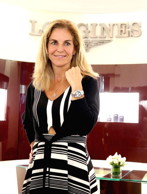 Former Spanish tennis player Arantxa Sanchez Vicario unveils Longines' Ronald Garros Timepiece in New Delhi, on April 17, 2017.