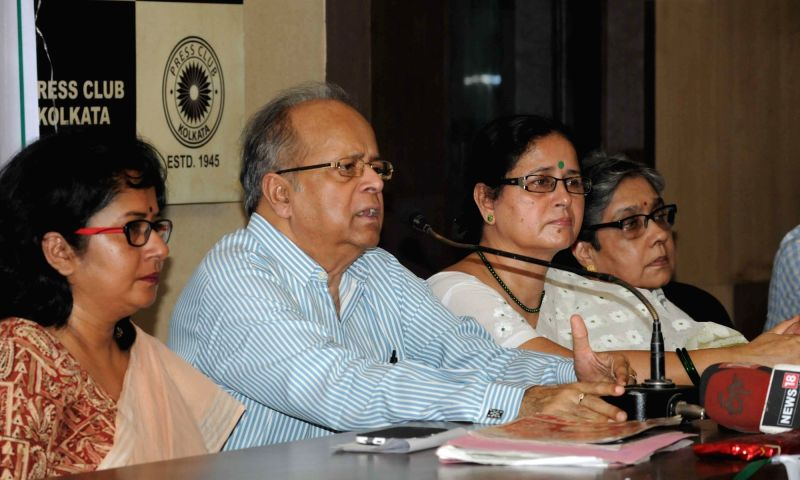 Former Supreme Court judge Justice Ashok Ganguly addresses during a convention organised by Joint Movement Committee demanding abolition of Triple Talaq and Polygamy at Press club in Kolkata ...