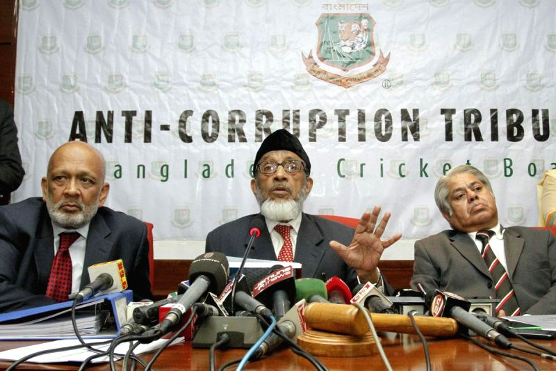 Former Supreme Court judge Justice Khademul Islam Chowdhury a member of the anti-corruption tribunal which was investigating into fixing in Bangladesh Premier League, addresses a press conference in .