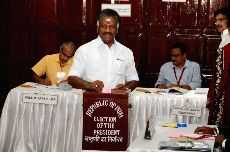 Former Tamil Nadu Chief minister O Panneerselvam in Tamil Nadu Assembly during presidential polls at Tamil Nadu Assembly in Chennai on July 17, 2017. - O Panneerselvam
