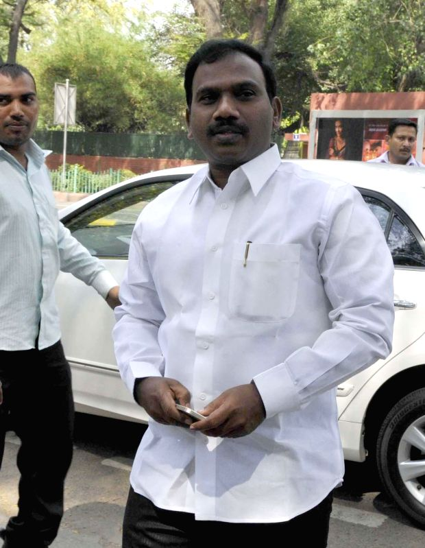 Former telecom Minster A Raja one of the accused in 2G spectrum allocation case, arrives at Patiala House Court in New Delhi on May 5, 2014.