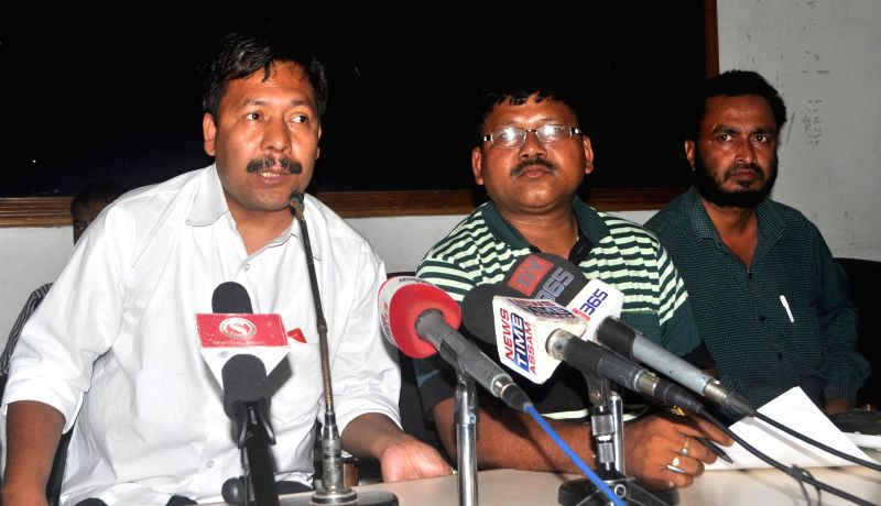 Former ULFA leader and independent candidate for 2014 Lok Sabha polls from Kokrajhar, Naba Sarania alias Hira Sarania during a press conference in Guwahati on May 2, 2014.