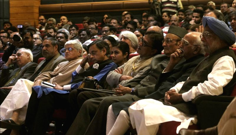 "Former Vice President Hamid Ansar, former Prime Minister Manmohan Singh, Congress leaders Kapil Sibal, Shashi Tharoor and Anand Sharma during the release of a book titled ""Speaking ... - Manmohan Singh, Shashi Tharoor and Anand Sharma"