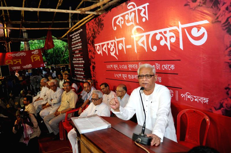 Former West Bengal Chief Minister Buddhadeb Bhattacharjee during the last day of a three day long dharna called to protest against various issues in Kolkata on June 27, 2014. - Buddhadeb Bhattacharjee