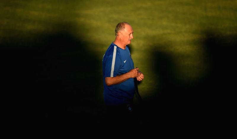 Brazil's coach Luiz Felipe Scolari is seen in a training session in Fortaleza, Brazil, on July 3, 2014.