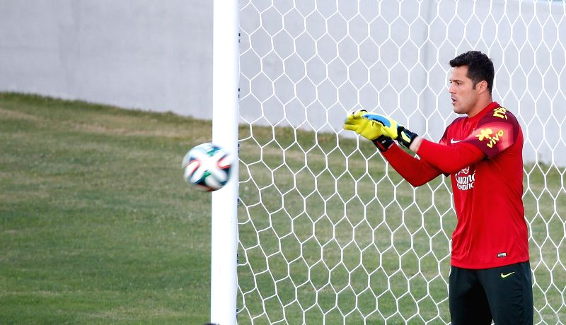 Brazil's goalkeeper Julio Cesar is seen in a training session in Fortaleza, Brazil, on July 3, 2014.