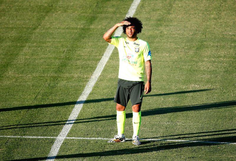 Brazil's Marcelo looks on in a training session in Fortaleza, Brazil, on July 3, 2014.