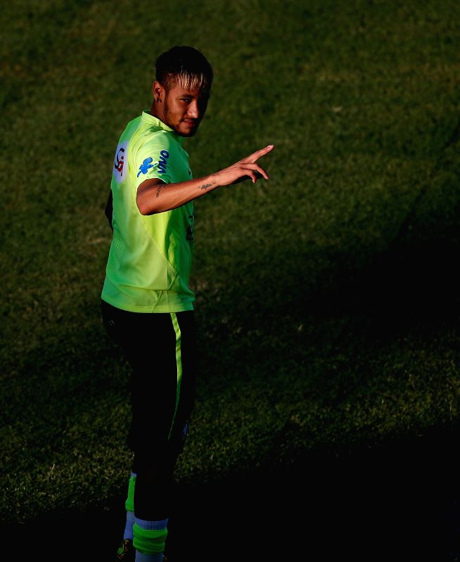 Brazil's Neymar gestures in a training session in Fortaleza, Brazil, on July 3, 2014.