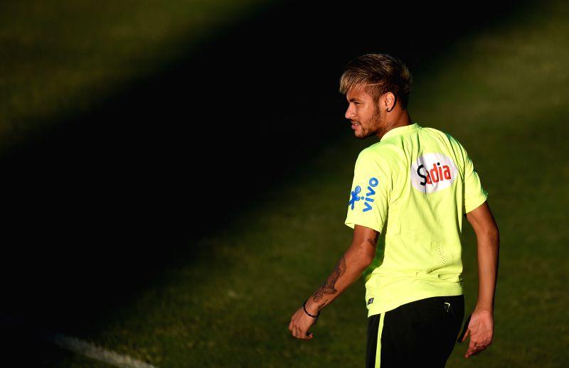 Brazil's Neymar is seen in a training session in Fortaleza, Brazil, on July 3, 2014.