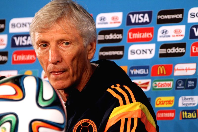 Head coach Jose Pekerman of Colombia's national soccer team takes part in a press conference in the Media Centre of the Arena Castelao Stadium, in Fortaleza, ...