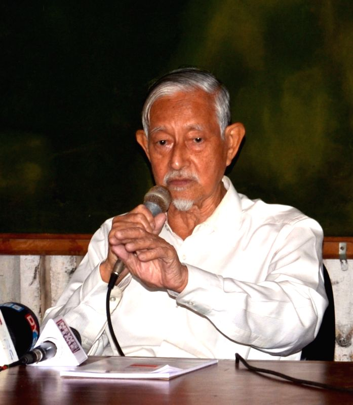 Forum against Citizenship Act Amendment Bill Chairperson Hiren Gohain addresses a press conference, in Guwahati on July 24, 2018.