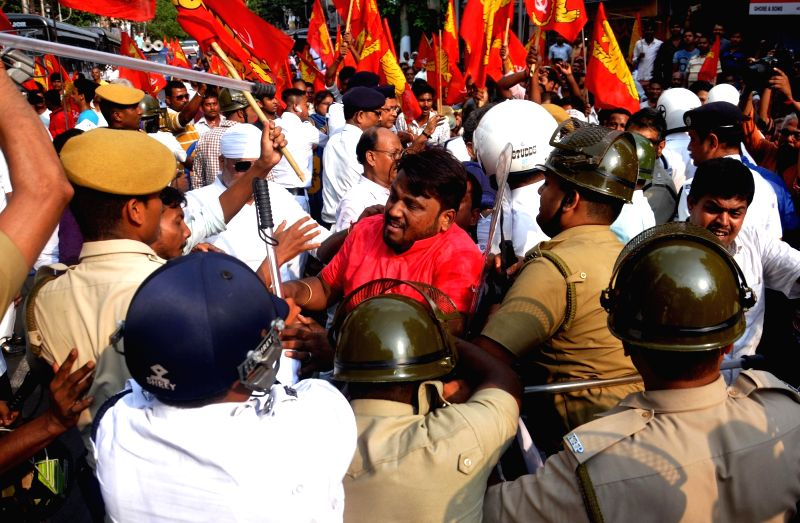 Forward Bloc activists participate in a law violation programme organised to press for their demands in Kolkata, on April 17, 2017.