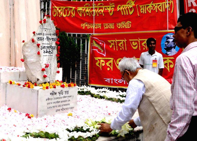 Forward Bloc Ashok Ghosh pays tribute to the martyrs on `Shahid Divas` in Kolkata on Aug 31, 2014. - Bloc Ashok Ghosh