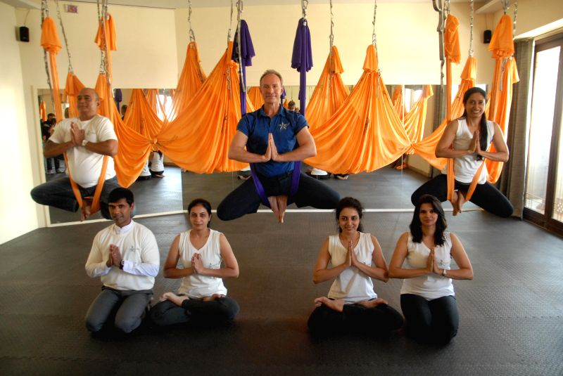 Founder of AntiGravity yoga - an international fitness brand Christopher Harrison at the launch of a yoga studio in Pune, on Feb 19, 2015.