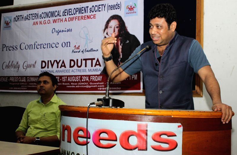 Founder of North Eastern Economical Development Society Amar Dip Paul addresses a press conference in Guwahati on August 1, 2014.