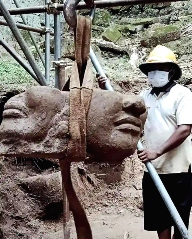 Four-faced head of Deva found in Cambodia shows powerful spiritual connect with India.(photo:IN)