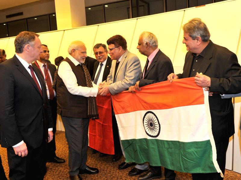 Prime Minister Narendra Modi being welcomed on his arrival, at Paris Orly International Airport, in France on April 09, 2015. - Narendra Modi