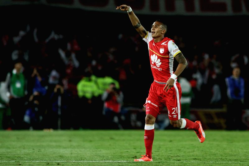 Francisco Meza of Independiente Santa Fe of Colombia celebrates after scoring during the quarterfinal against Independiente de Avellaneda at the South American Cup ...