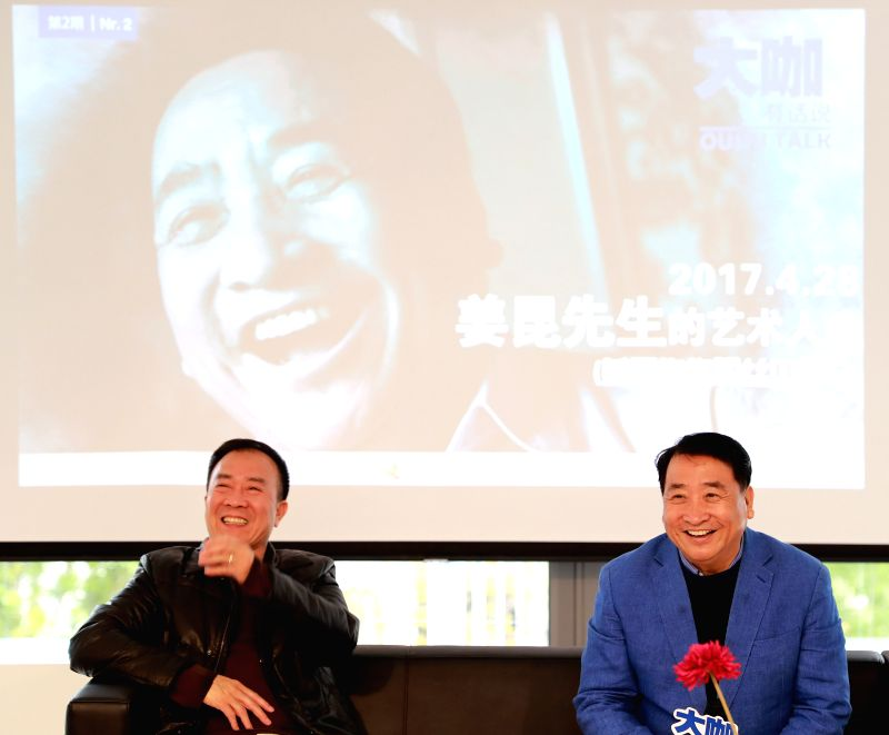 FRANKFURT, April 29, 2017 - Chinese cross talk artist Jiang Kun (R) and his partner Dai Zhicheng meet with their fans at Nouvelles d'Europe Cultural Center during his visit to Germany's Frankfurt on ... - Jiang Kun