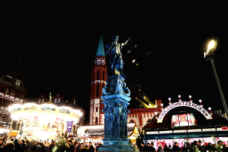 Frankfurt (Germany): Photo taken on Nov. 26, 2014 shows the general view of the Christmas market after its official opening in Frankfurt, Germany.