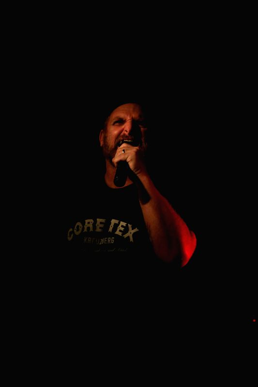"Kevin Seconds of American Hardcore punk ""7SECONDS"" performs in Nachtleben in Frankfurt, Germany, July 15, 2014."
