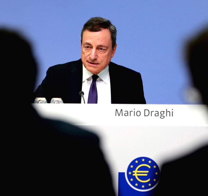 FRANKFURT, July 27, 2018 - The European Central Bank (ECB) President Mario Draghi attends a press conference at the ECB headquarters in Frankfurt, Germany, on July 26, 2018. The ECB Thursday decided ...