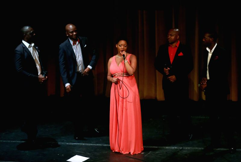The cappella group VMSIX from Namibia performs at the International Theater in Frankfurt, Germany, on June 27, 2014. VMSIX presented their latest album Ekundungu .