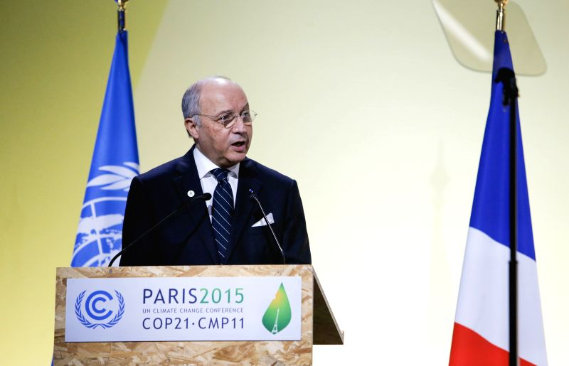 French Foreign Minister Laurent Fabius delivers a speech during the opening ceremony of the 21st Conference of the Parties to the United Nations Framework Convention ... - Laurent Fabius