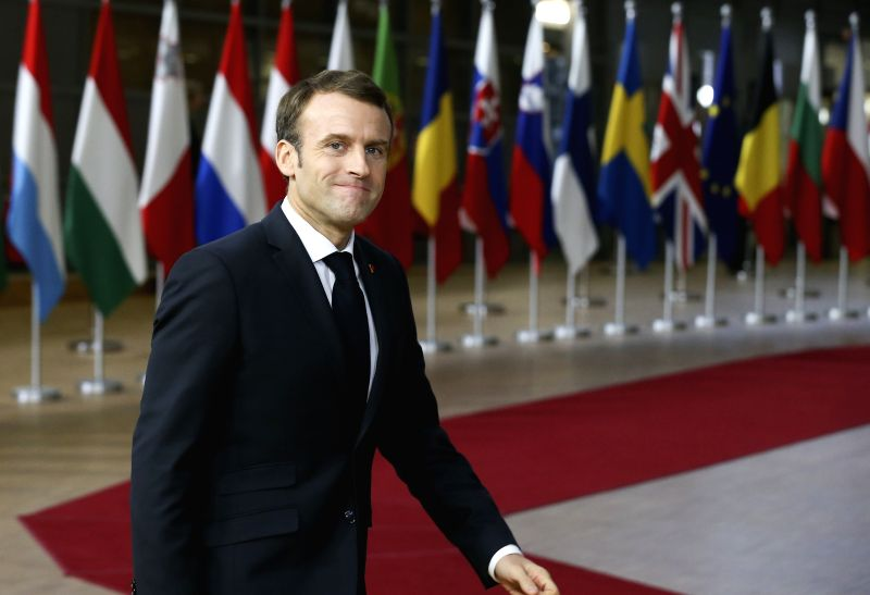 :French President Emmanuel Macron arrives at a special Brexit summit in Brussels, Belgium, Nov. 25, 2018. (Xinhua/Ye Pingfan).