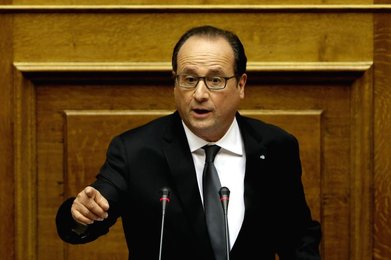 French President Francois Hollande delivers a speech to the lawmakers at the Greek parliament in Athens, Greece, Oct. 23, 2015. French President Francois Hollande ...