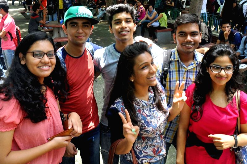 Freshers at Hanshraj College on Day-1 of their college lives in New Delhi on July 20, 2016.