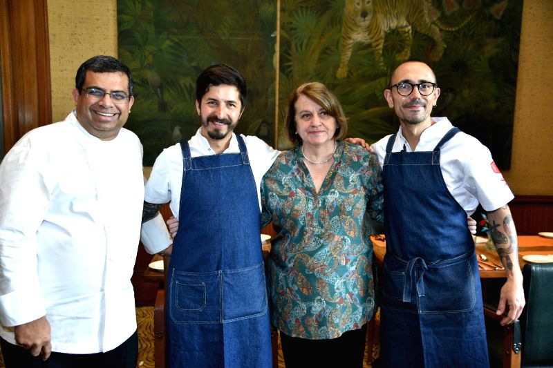 From L - R, Chef Arun Sundaraj, Executive Chef, Taj Mahal New Delhi, Her Excellency Mrs. Clemencia Forero Ucrós, Ambassador of Colombia to India and Chef Alejandro Gutierrez.