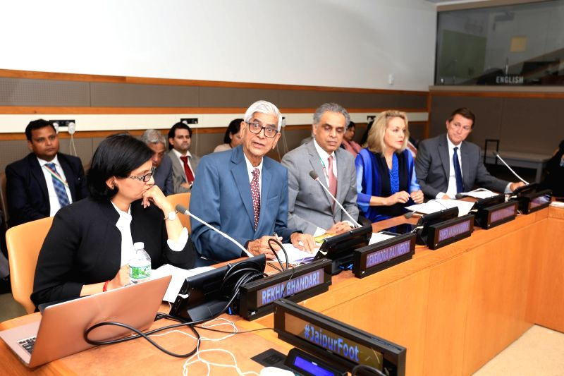 From left, Rekha Bhandari, D R Mehta, the founder of Jaipur Foot   Permanent Representative of India  Syed Akbaruddin, Permanent Representative of Colombia Maria Emma Mejia Velez, and author John ... - Rekha and D R Mehta