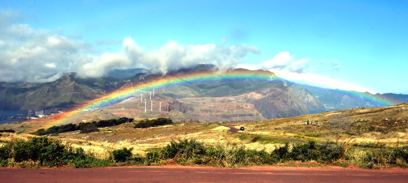 FUNCHAL, May 9, 2017 - Photo taken on May 8, 2017 shows a rainbow on Madeira Island, Portugal.