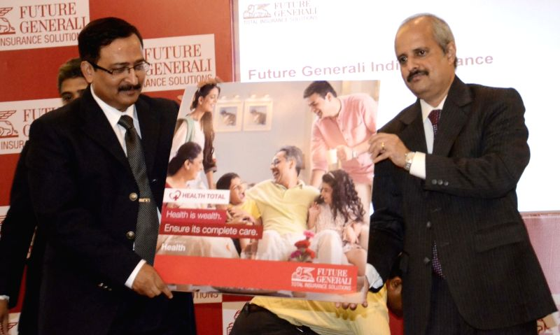 Future Generali India Insurance Company Managing Director and Chief Executive Officer K G Krishnamoorthy Rao and head, health insurance Shreeraj Deshpande during the launch of Future Generali ...