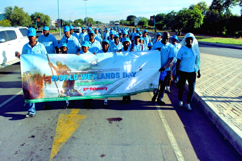 GABORONE, Feb. 2, 2018 - Participiants walk during the Green March, in Gaborone, capital of Botswana on Feb. 2, 2018. The Green March is an activation of the World Wetlands Day Commemoration themed, ...