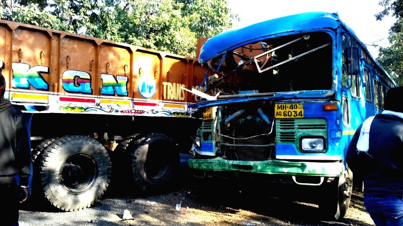 Gadchiroli: The site where an accident occured between a truck and a bus, reportedly killing six persons at Etapalli in Maharashtra's Gadchiroli on Jan 16, 2019.