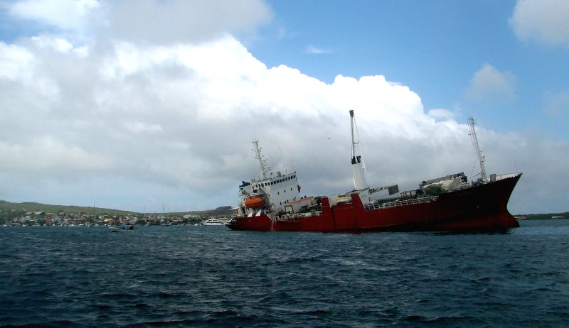 Image provided by the Galapagos National Park shows the Galapaface vessel that went aground on Friday morning, in the coast of San Cristobal, Galapagos, Ecuador, ..