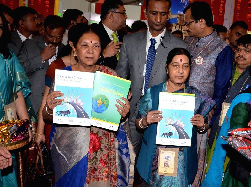 External Affairs Minister Sushma Swaraj and Gujarat Chief Minister Anandiben Patel at the inauguration of the Youth Pravasi Bharatiya Divas 2015, in Gandhinagar, Gujarat on Jan 7, 2015. - Anandiben Patel