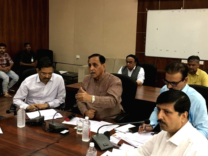 Gandhinagar: Gujarat Chief Minister Vijay Rupani chairs a review meeting with senior officials on preparedness of state administration in view of Cyclone Vayu which is likely to hit the Gujarat coast on Thursday, at the State Emergency Operation Cent