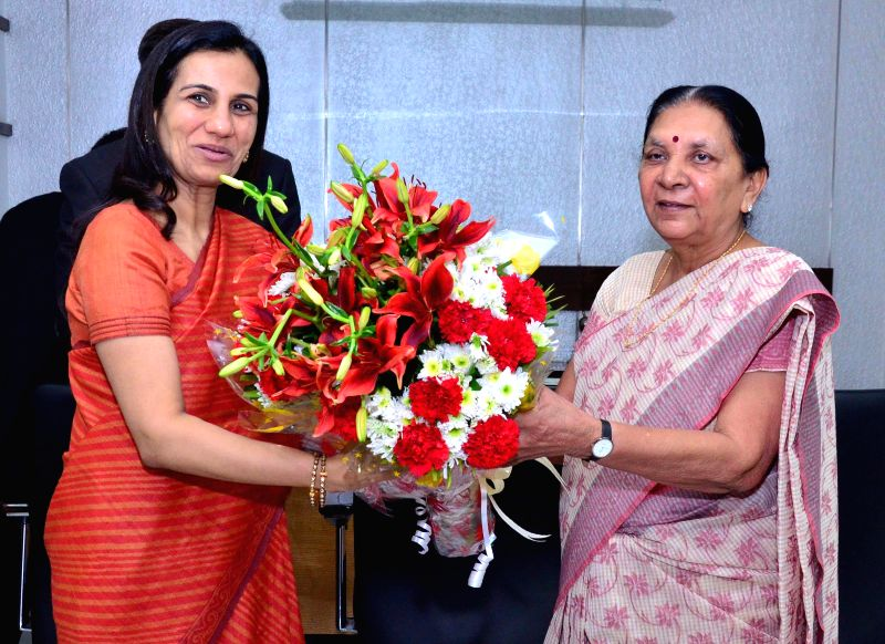 ICICI bank CEO Chanda Kochhar meets  Gujarat Chief Minister Anandiben Patel in Gandhinagar on Dec 30, 2014. - Anandiben Patel