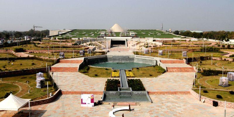 Mahatma Mandir, the venue of the upcoming Pravasi Bhartiya Divas and Vibrant Gujarat-2015 in Gandhinagar on Jan. 3, 2015.